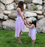 Hi - Lo Mommy Dress: Lavender and Floral - Gabskia