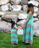 Maxi Dress Mommy - Teal and Leopard