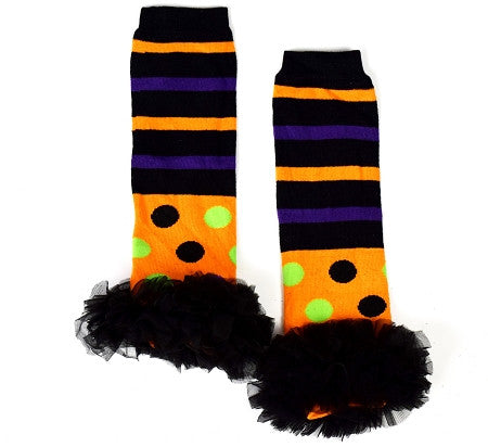 Polka and Stripes Halloween Leg Warmers w/Chiffon Ruffles - Gabskia
