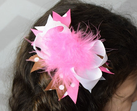 Brown, Pink and White 5.5 Marabou Boutique Bow - Gabskia