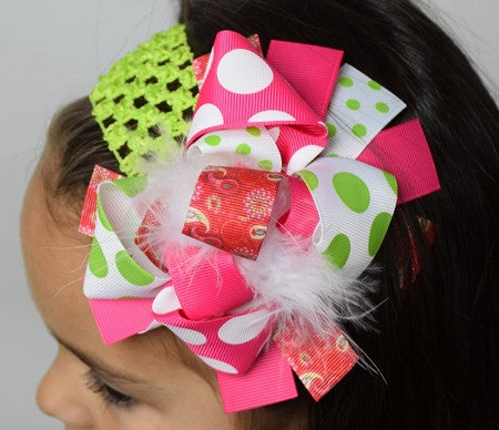 Paisley and Dots 6in Boutique Bow - Gabskia
