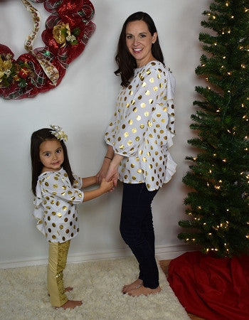 Back Bow Tunic Mommy - White w/Gold Dots - Gabskia