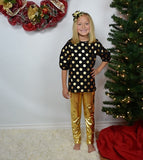 Back Bow Tunic Girl - Black w/Gold Dots