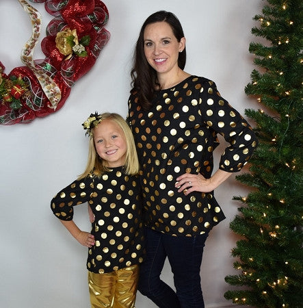 Back Bow Tunic Mommy - Black w/Gold Dots - Gabskia