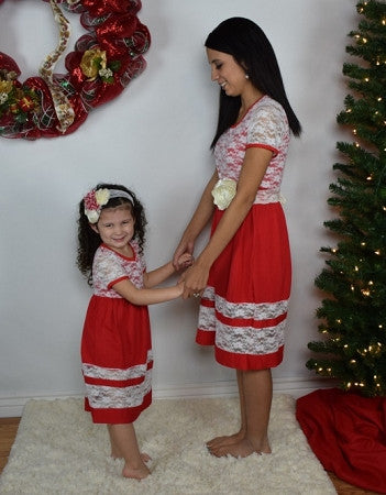 Red and Cream Lace Mommy Dress - Gabskia