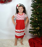 Red and cream Lace Girl Dress - Gabskia