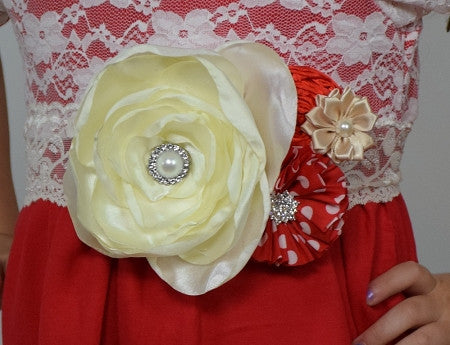Red and Cream 7in Peony Sash