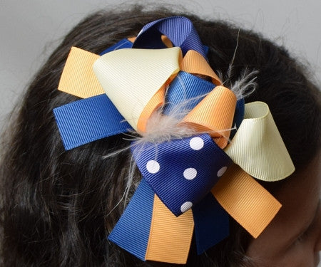 Light Yellow, Gold and Navy 6in Marabou Boutique Bow - Gabskia