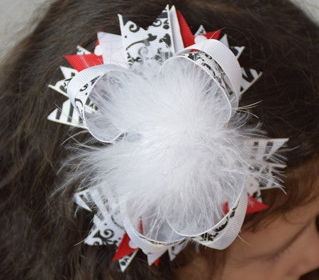White, Red and Damask 5.5in Marabou Boutique Bow
