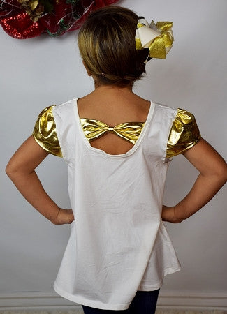 Cream Top with Gold Cap Sleeves - Girl - Gabskia