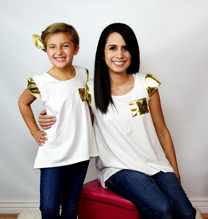 Cream Top with Gold Cap Sleeves - Mommy - Gabskia