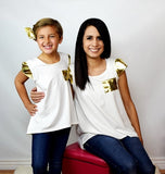 Cream Top with Gold Cap Sleeves - Mommy