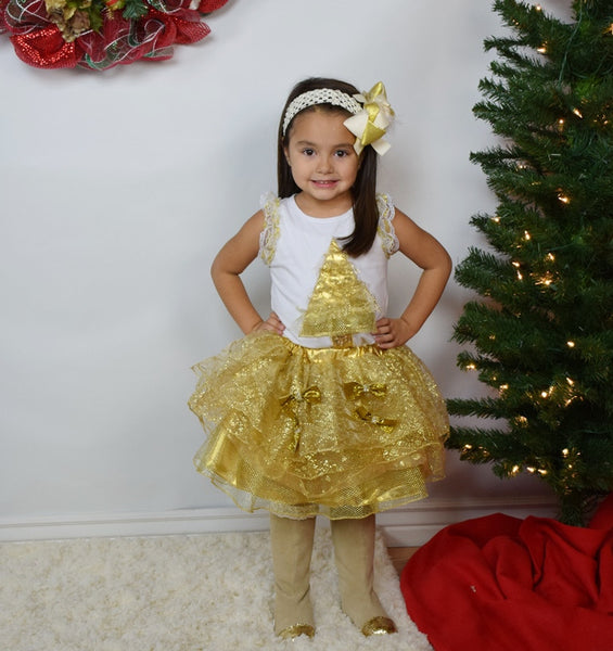 Gold Christmas 2pc Tutu Skirt Set - Gabskia