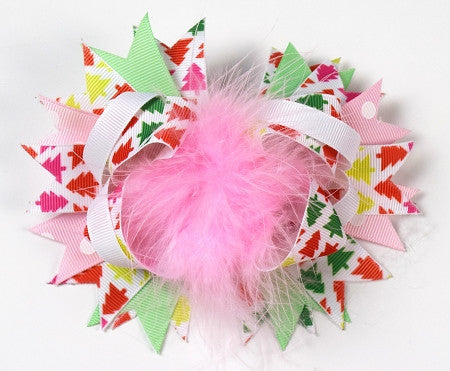 Christmas Trees w/Pink Marabou 6in Boutique Bow