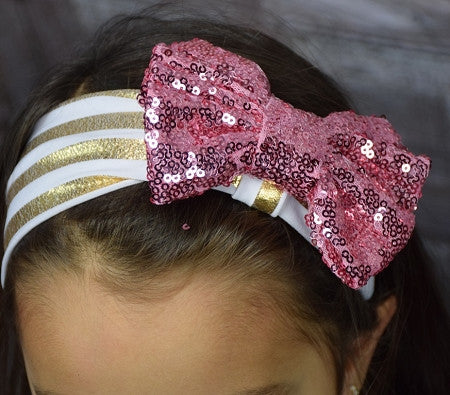 Gold Stripe Headband w/Sequin  Bow  (More Colors) - Gabskia