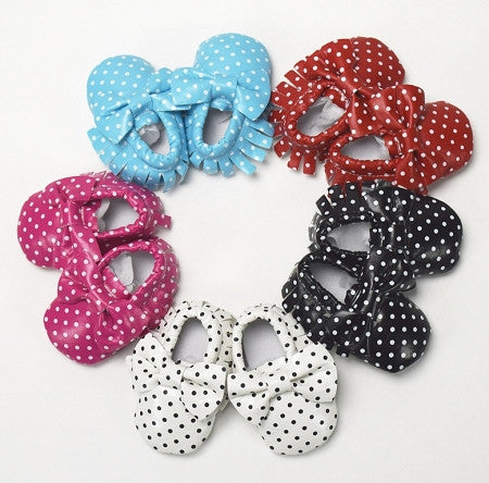 Polka Dot Baby Moccasin w/Bow (More Colors)