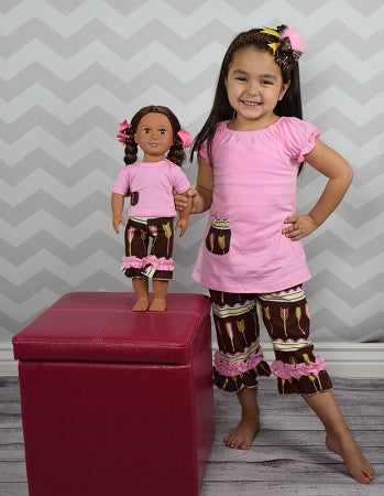 """She Believe She Could and She Did"" Feather 2pc Doll Outfit"