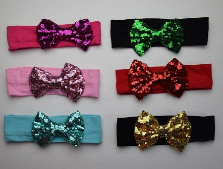 Solid Cotton Headband w/4in Sequin Bow (More Colors) - Gabskia