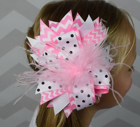 Pink Chevron and Black Dots w/Ostrich Feather 6in Boutique Bow