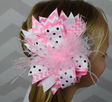 Pink Chevron and Black Dots w/Ostrich Feather 6in Boutique Bow - Gabskia