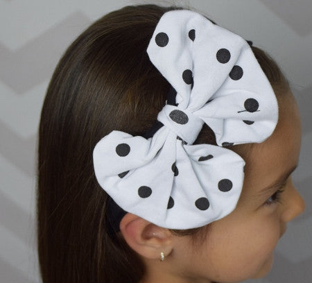 Black Cotton Headband w/Polka Dot Big Bow - Gabskia