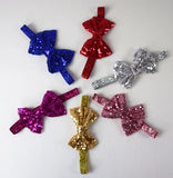 Metallic Skinny Headbands w/4in Sequin Bow (More Colors)