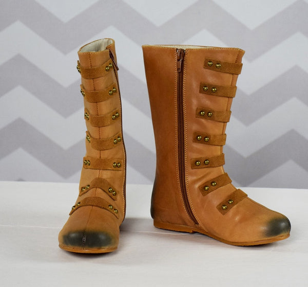 The Stella Leather Boot - Brown - Gabskia