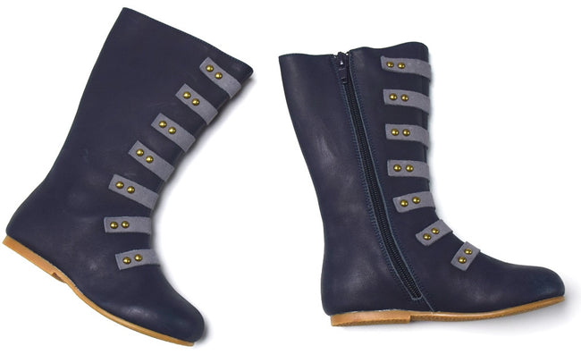 The Stella Leather Boot - Navy - Gabskia