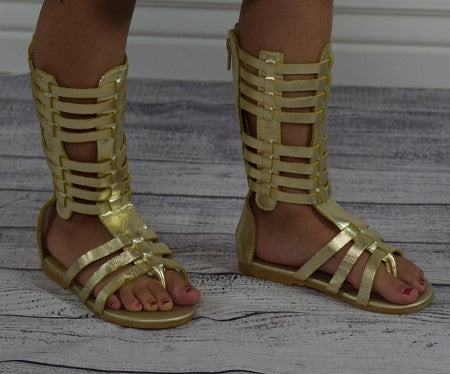 The Tessa Gladiator Sandals - Gold - Gabskia