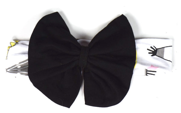 The Teepee Cotton Headband w/Black Bow - Gabskia