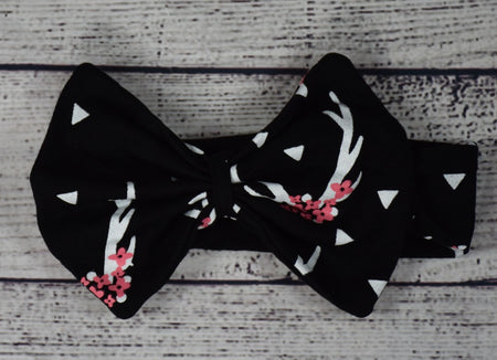 Black and White Dots Cotton Headband w/ Big Red Bow
