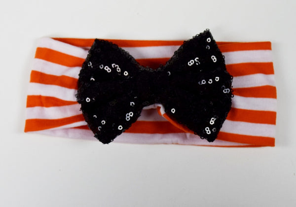 Orange Stripe Headband with Black Sequin Bow - Gabskia