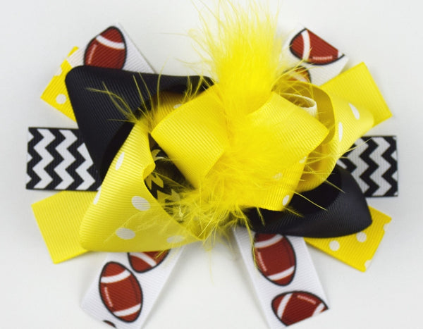 Team Inspired 6in Marabou Boutique Bows - Gabskia