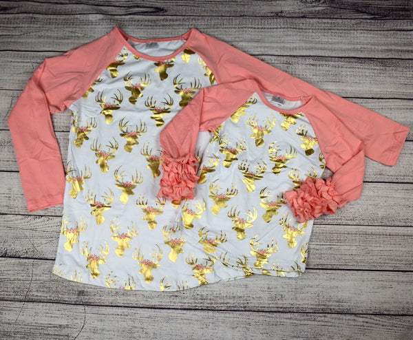Gold Reindeer w/Coral Sleeves Mommy and Me Tops