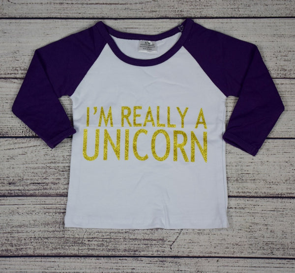 I'm Really a Unicorn Ranglan Top w/Purple Sleeves - Gabskia