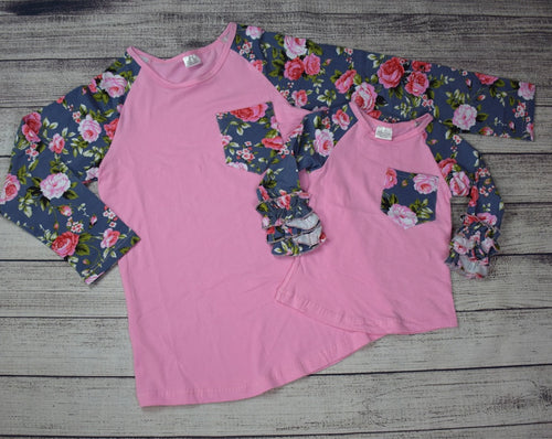 Pink Top w/Gray Floral Sleeves Mommy and Me Top - Gabskia