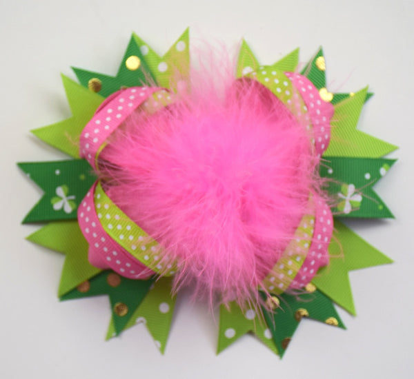 St Patricks 6in Boutique Bow w/Pink Marabou