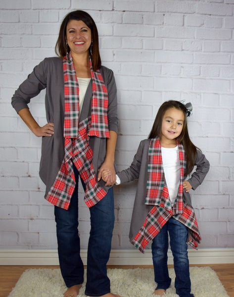 Gray Cardigan w/Plaid Trim Mommy and Me (Up to size 14 girls) - Gabskia