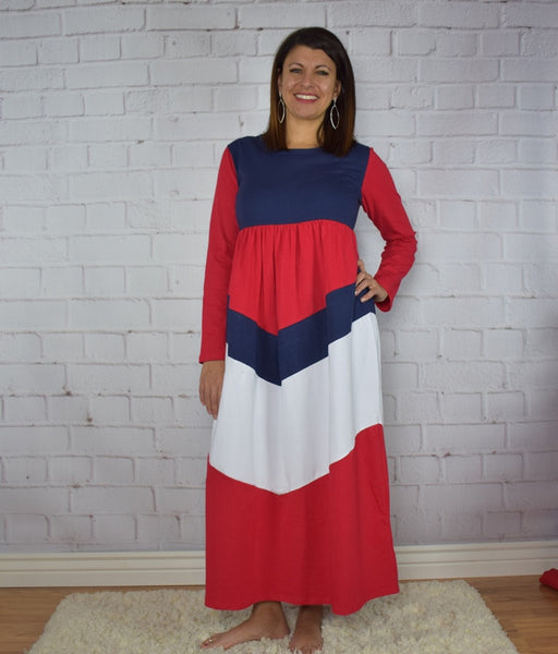 Red, White and Blue Maxi Dress ~ Mommy - Gabskia