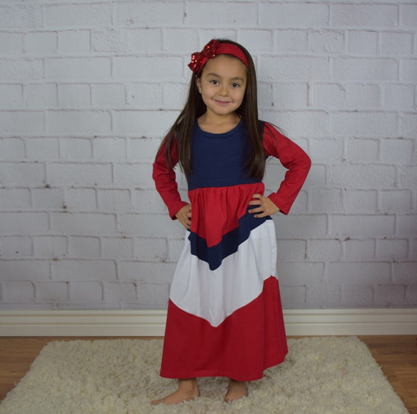 Red, White and Blue Maxi Dress ~ Girl - Gabskia