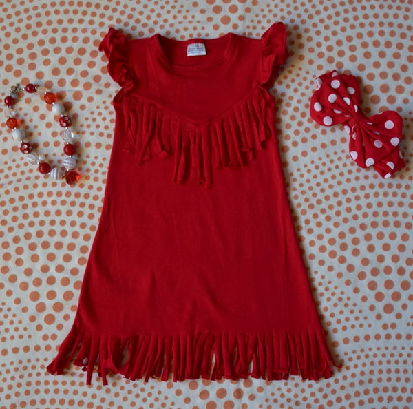 The Emma Fringe Dress - Red - Gabskia