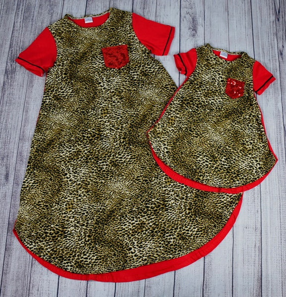Red and Leopard Mommy and Me T-Shirt Dress - Gabskia