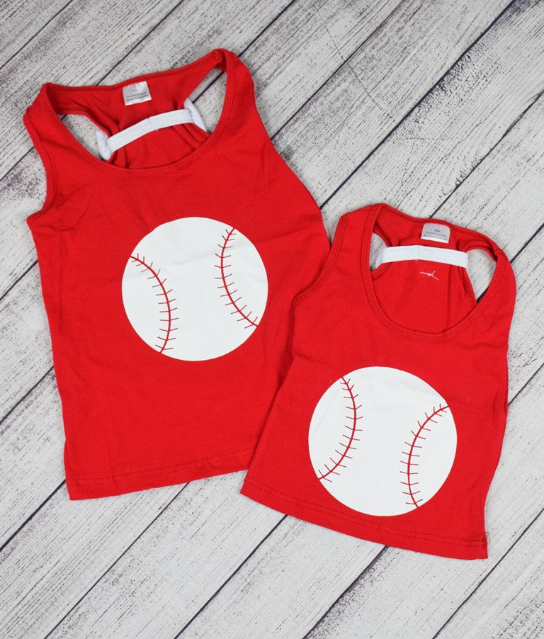Red Baseball Mommy and Me Back Bow Tank