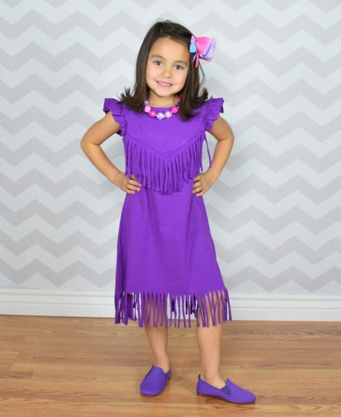 The Emma Fringe Dress - Purple - Gabskia