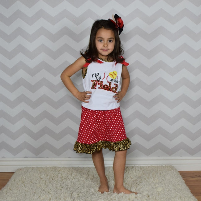 Polka and Leopard 2pc Ball Skirt Set - Gabskia