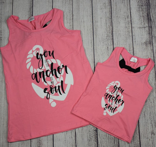 """You are the Anchor to my Soul"" Mommy and Me Top - Pink and Black - Gabskia"
