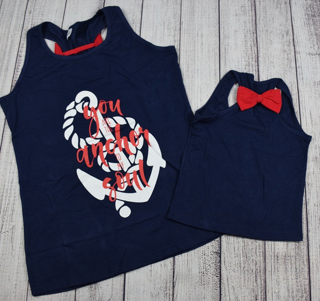 """You are the Anchor to my Soul"" Mommy and Me Top - Navy and Red - Gabskia"