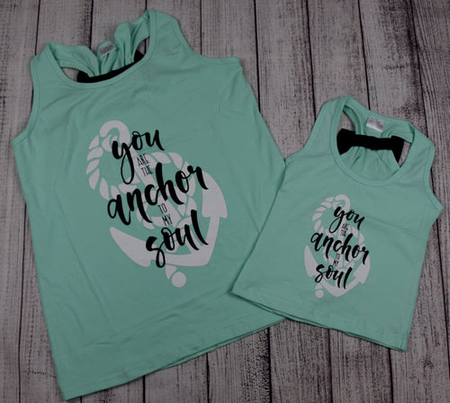 """You are the Anchor to my Soul"" Mommy and Me Top - Mint and Black - Gabskia"