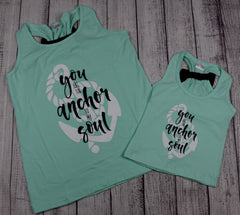 """You are the Anchor to my Soul"" Mommy and Me Top - Mint and Black"