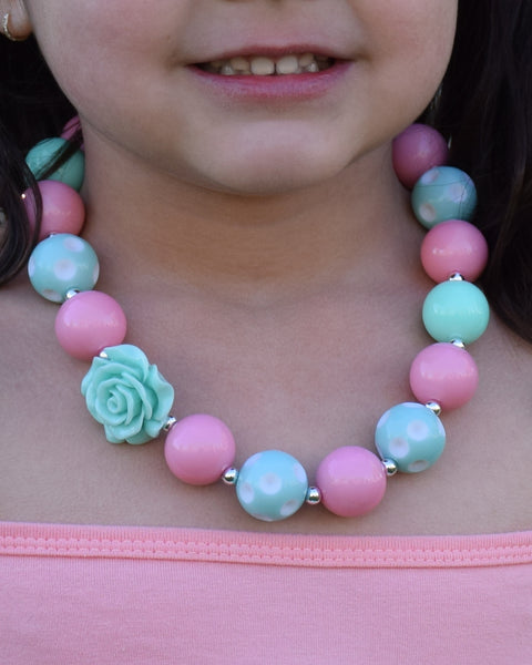 Pink and Mint Chunky Necklace - Gabskia